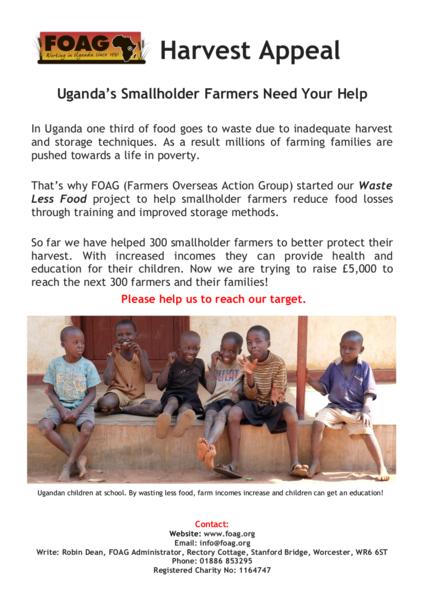 FOAG 2017 Harvest Appeal - FOAG Harvest Appeal Leaflet